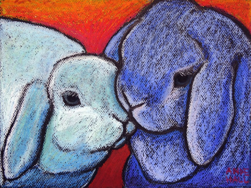 """Blue Bunnylove"" original fine art by Ande Hall"