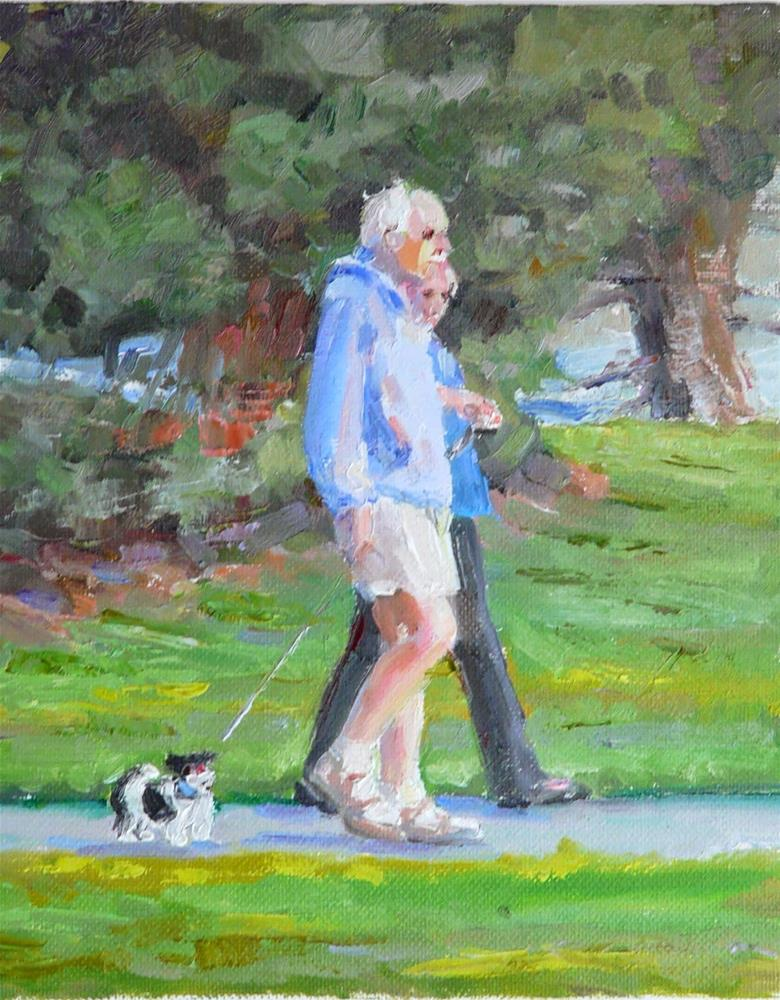 """Park Bark.figure,oil on canvas,10x8,price$450"" original fine art by Joy Olney"