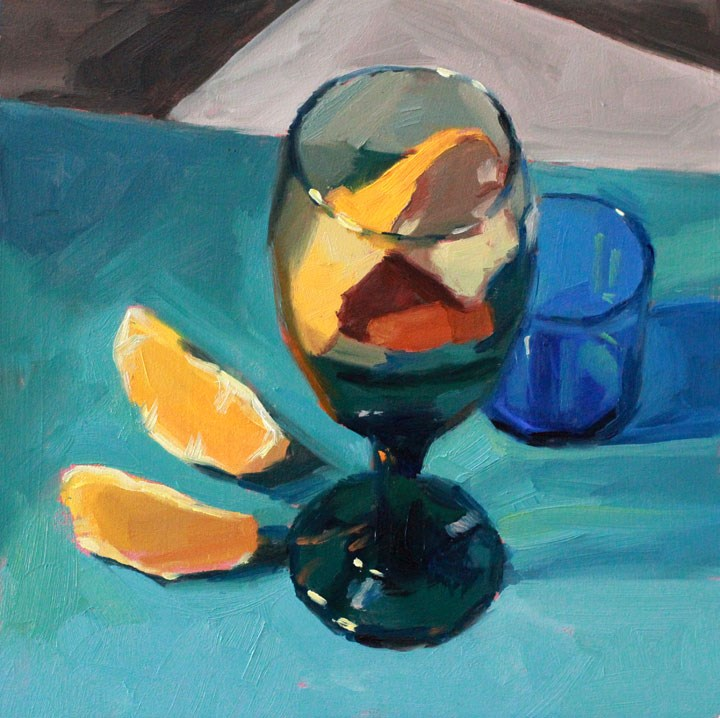 """Peeled Orange and Colored Glass"" original fine art by Nealy May Riley"