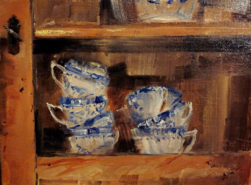 """Dishes in the cupboard"" original fine art by Claudia Brandt"