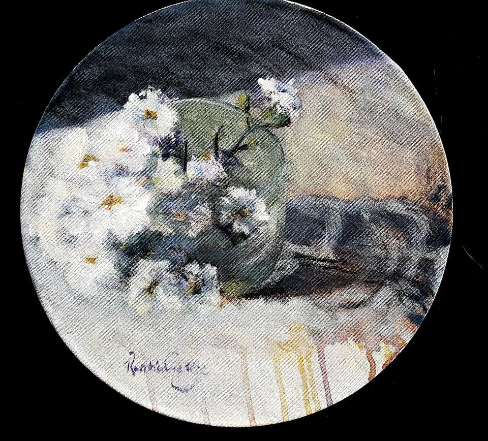 """Michaelmas daisies in a glass"" original fine art by Rentia Coetzee"