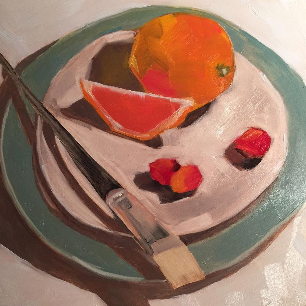 """103 Fruit and Paintbrush"" original fine art by Jenny Doh"
