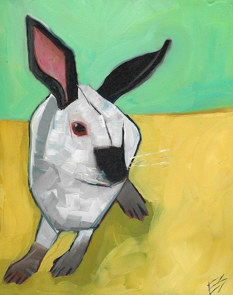 """Rabbit Original Oil Painting"" original fine art by Elizabeth See"