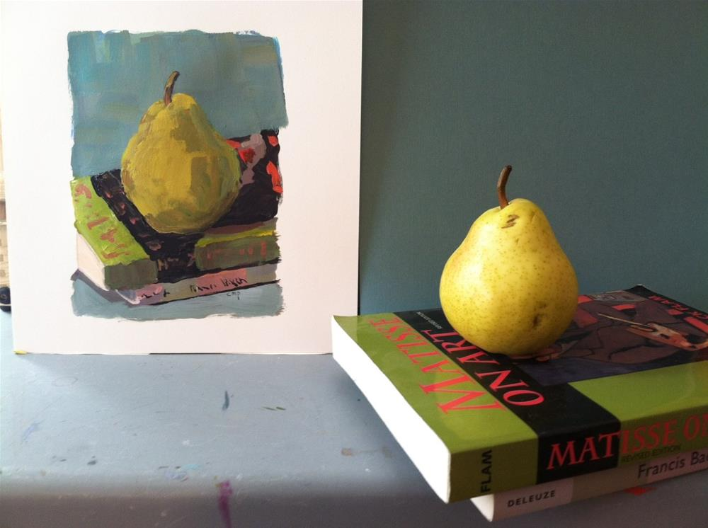 """Pear with Books"" original fine art by Christine Parker"