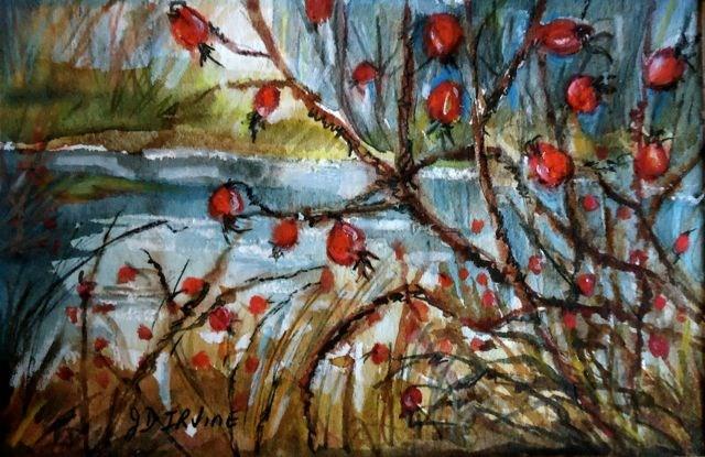 """Autumn Rosehips 2015"" original fine art by Jackie Irvine"
