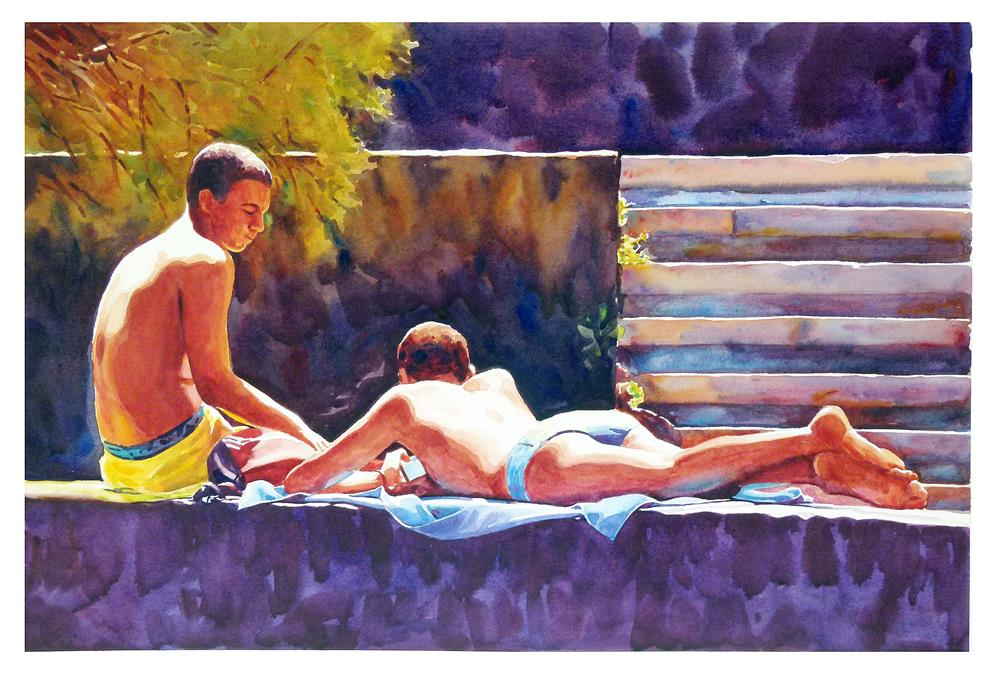 """Lads on the wall 2."" original fine art by Graham Berry"