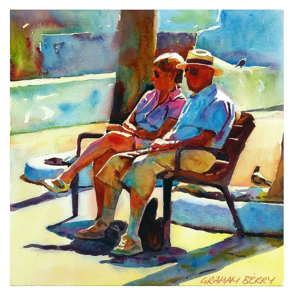 """Couple on bench"" original fine art by Graham Berry"