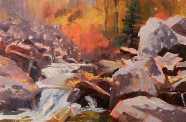 """""""Kootenai Cascade plein air, oil landscape painting, by Robin Weiss"""" original fine art by Robin Weiss"""