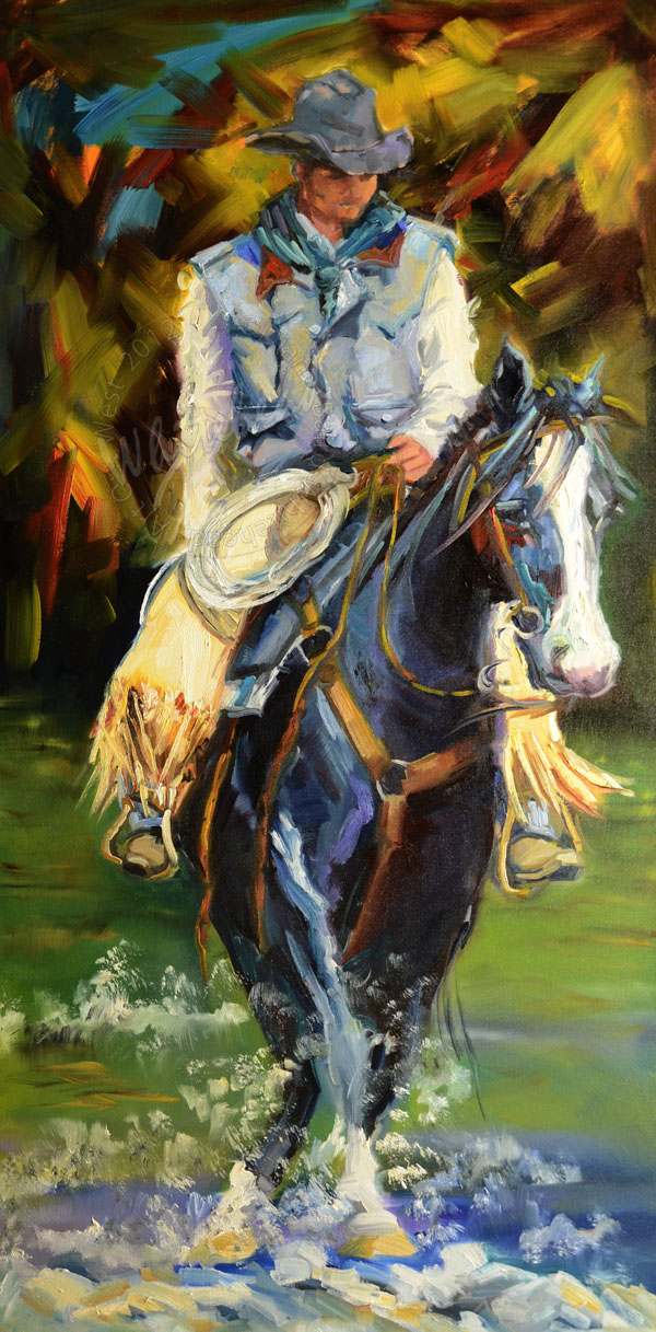 """COWBOY WESTERN EQUINE RIVER RUN ARTOUTWEST DAILY PAINTING"" original fine art by Diane Whitehead"