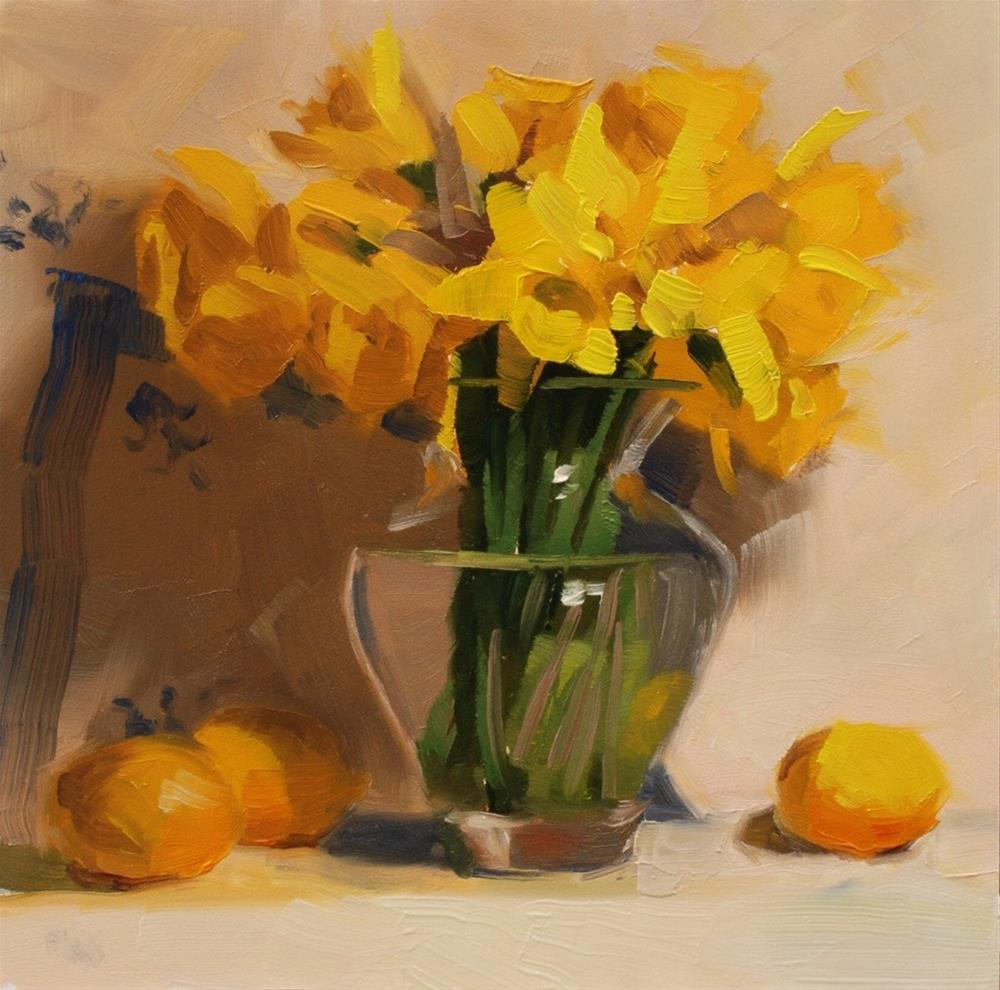 """No. 600! Daffodils with Fancy Lemons"" original fine art by Susan McManamen"