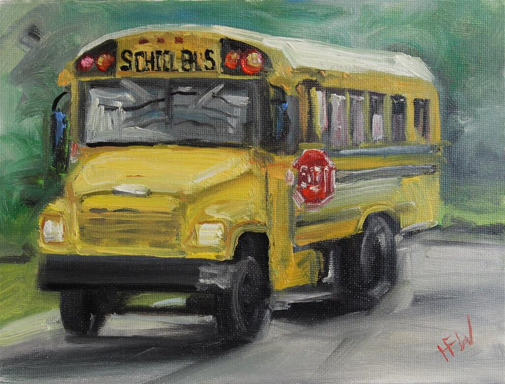 """Yellow School Bus"" original fine art by H.F. Wallen"