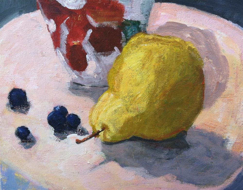 """Pear with Blueberries"" original fine art by Christine Parker"