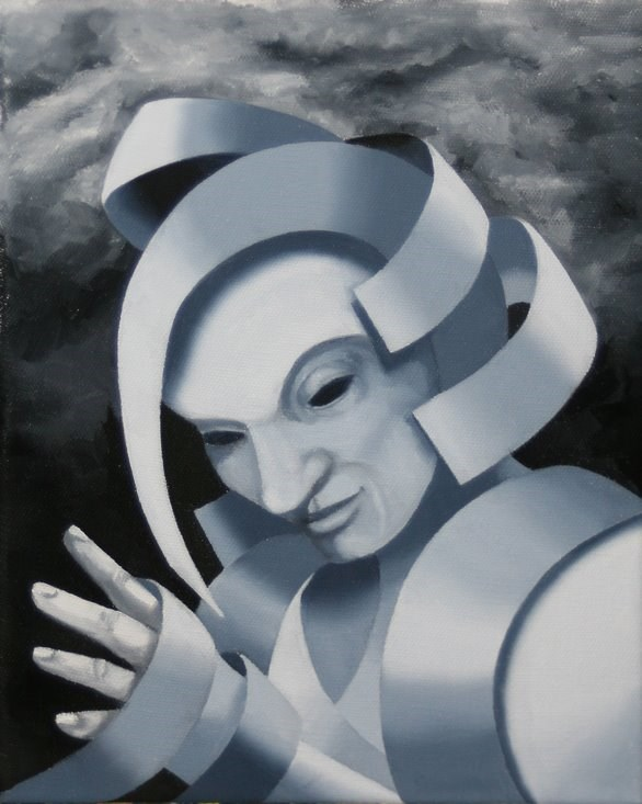"""Mark Webster - Gray Matter #5 - Abstract Grayscale Oil Painting"" original fine art by Mark Webster"