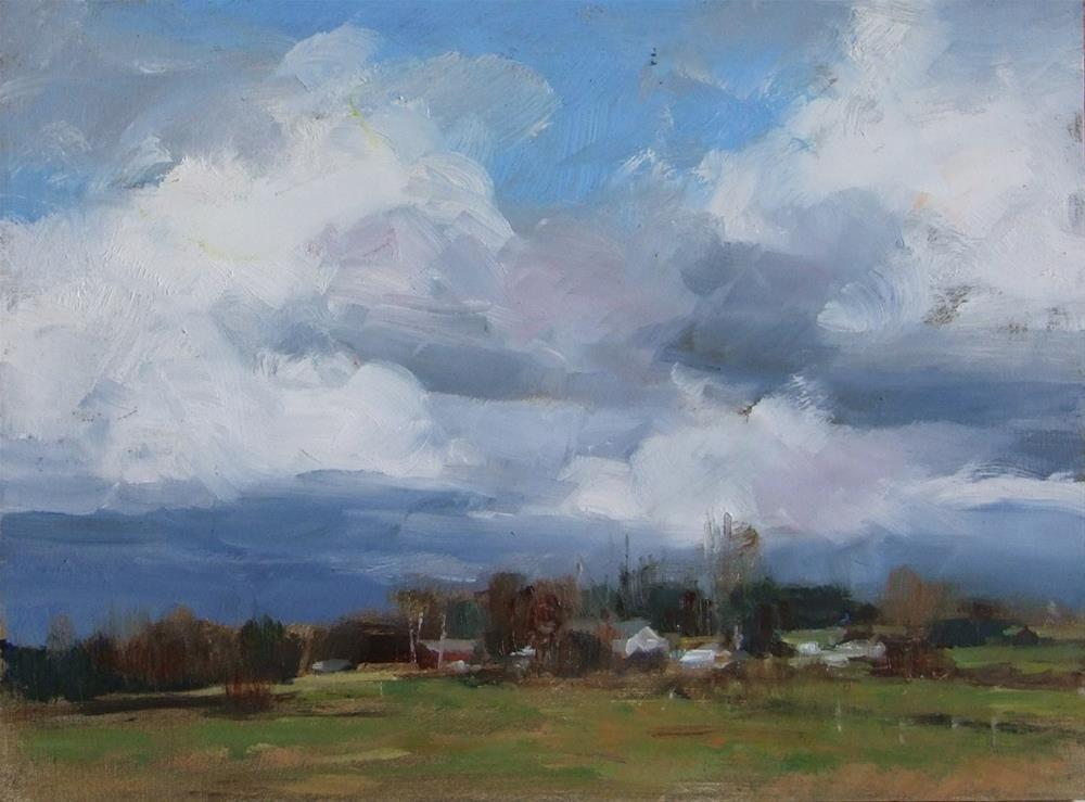 """Farm Under a Cloudy Sky"" original fine art by Deborah Tilby"