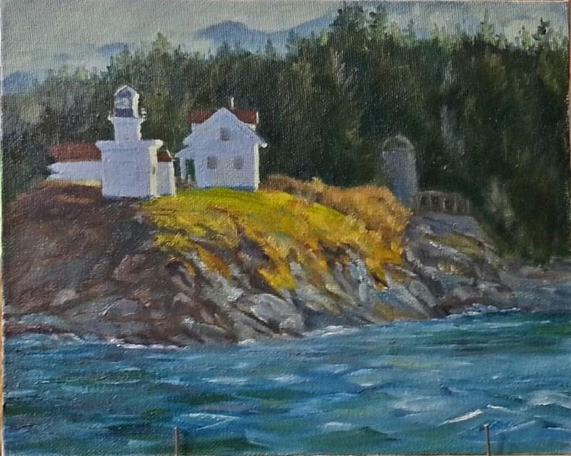 """Point Retreat Light"" original fine art by Christine Lewis"