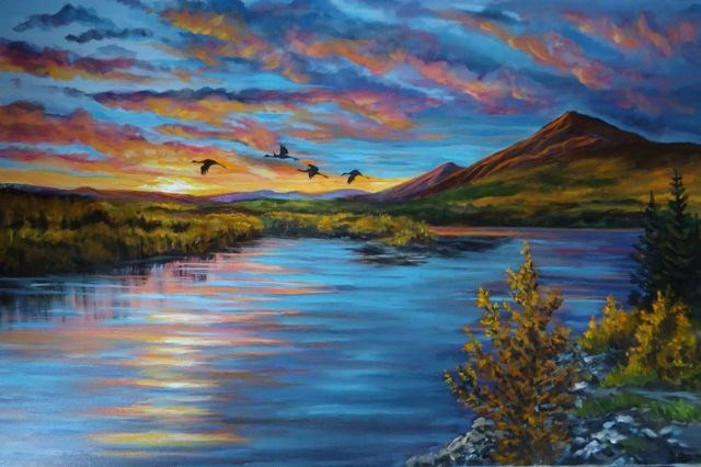 """Cranes on the Pelly River, Yukon"" original fine art by Jackie Irvine"