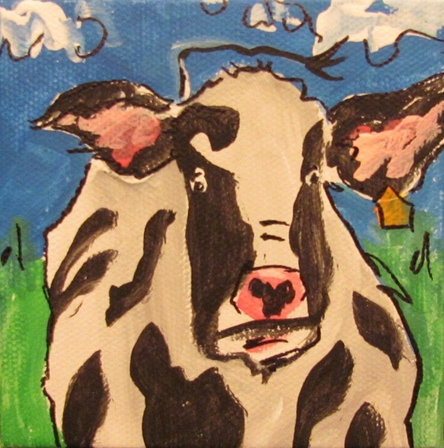 """30 Paintings in 30 Days-Day 18-Mini Cow"" original fine art by Terri Einer"