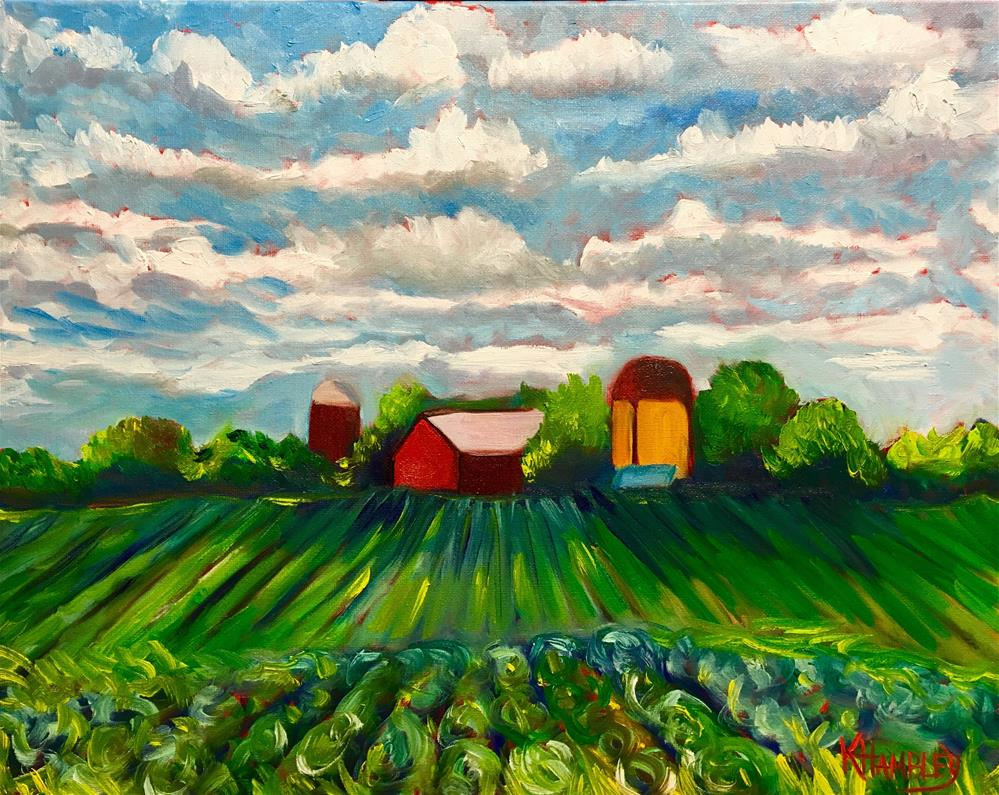 """Cabbage Farm Somers Wisconsin"" original fine art by Katherine Hambley"