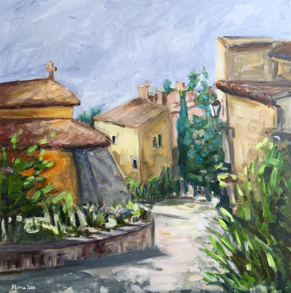 """Street in Roussillon"" original fine art by Alina Vidulescu"