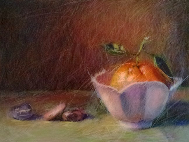 """Mandarin, Tulip Bowl and Stones"" original fine art by Cindy Haase"