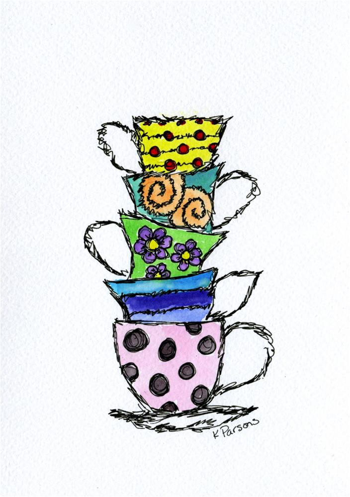 """Teacup Stack"" original fine art by Kali Parsons"