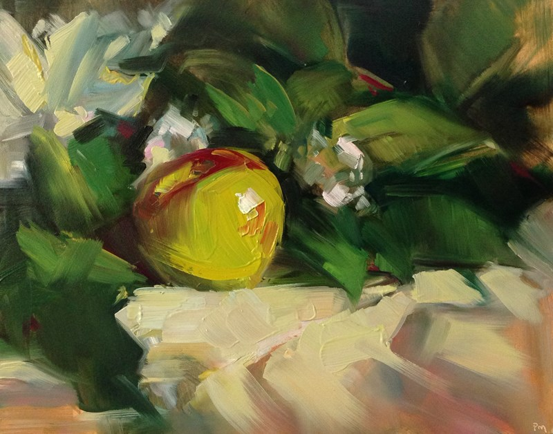 """How About a Nice, Juicy Apple, My Dear?"" original fine art by Patti McNutt"