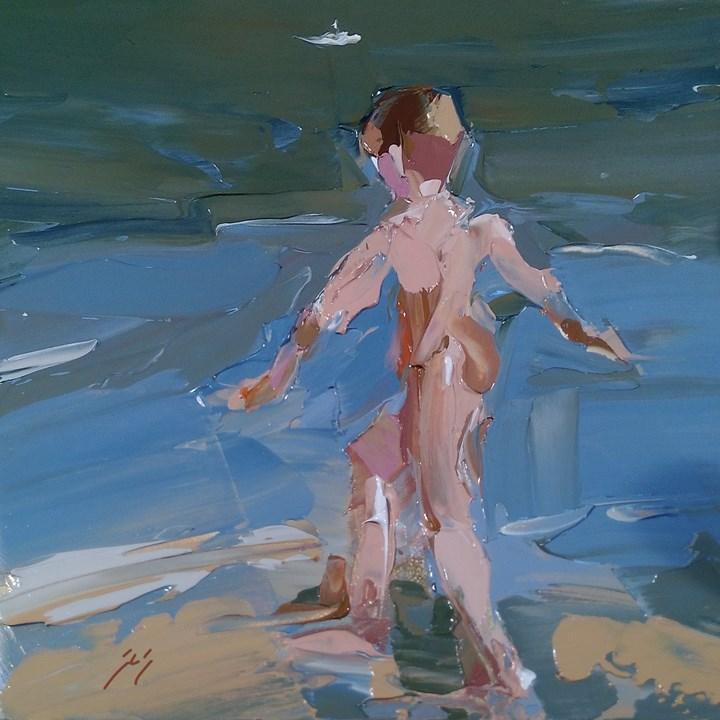 """Naked Boy by Sally Shisler"" original fine art by Sally Shisler"