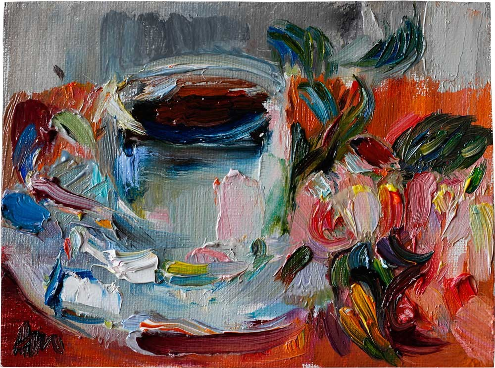 """¨Lovely Breakfast¨ - A Cup of Coffee and Roses"" original fine art by Anna  Fine Art"