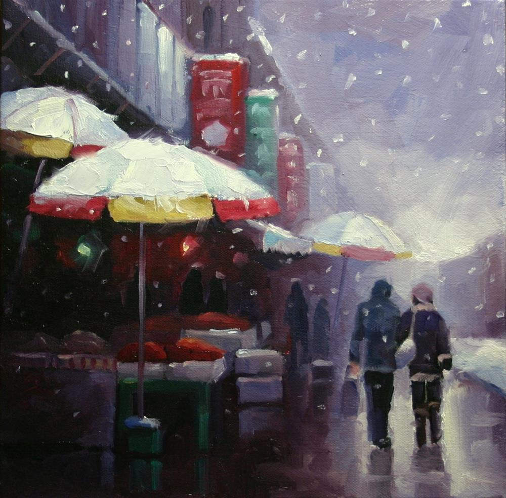"""Snow in Chinatown, Spadina Ave."" original fine art by Catherine Jeffrey"