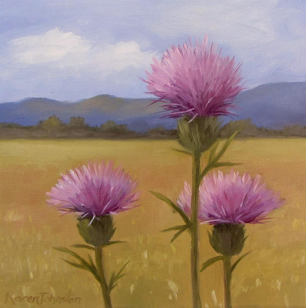 """Thistles- Winner"" original fine art by Karen Johnston"
