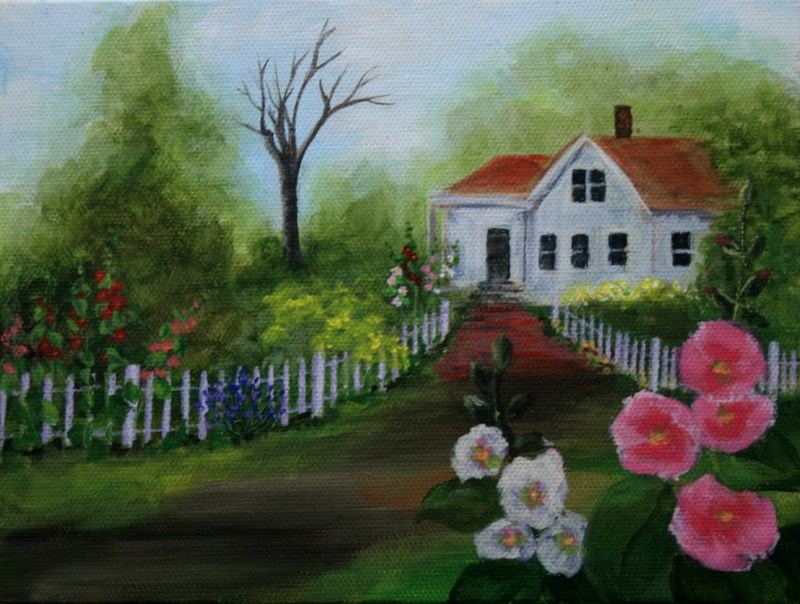"""Cottage Garden"" original fine art by Jean Nelson"