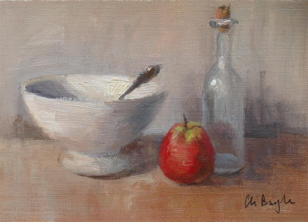 """Bowl bottle and fruit"" original fine art by Christine Bayle"