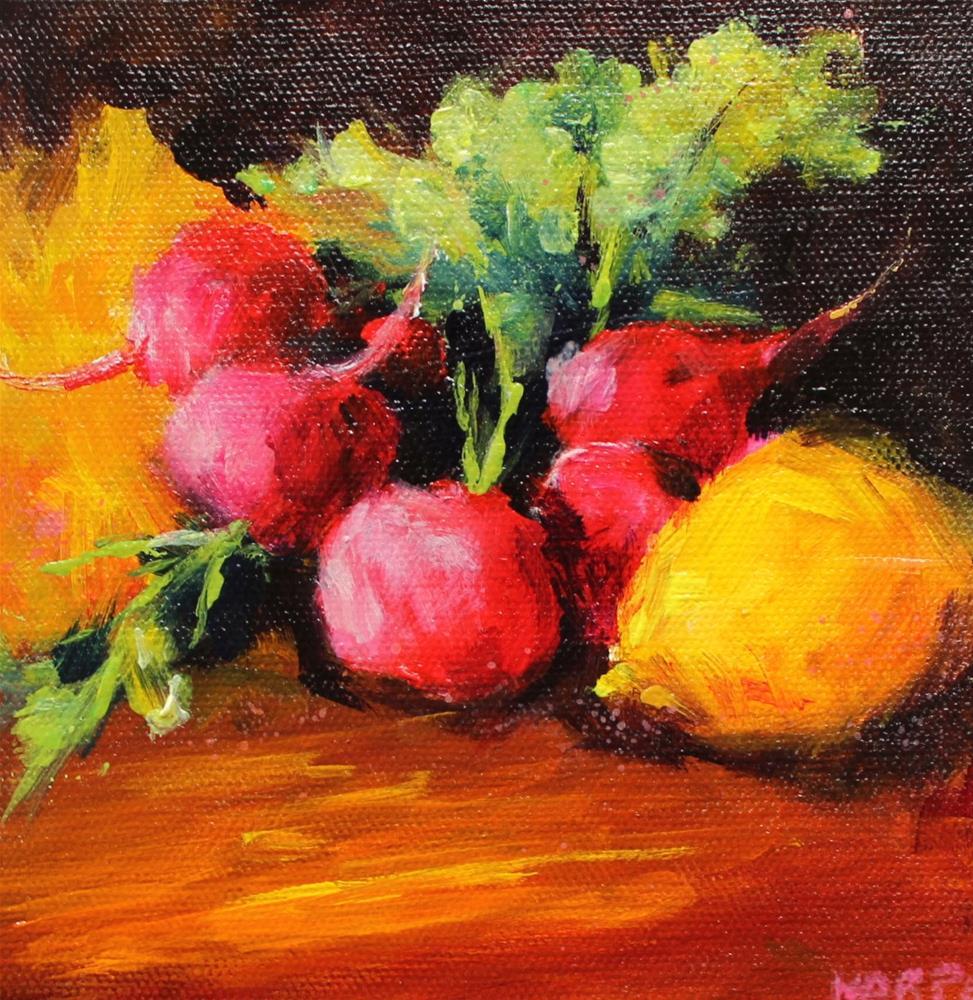 """""""Original food art lemon radish still life art painting"""" original fine art by Alice Harpel"""