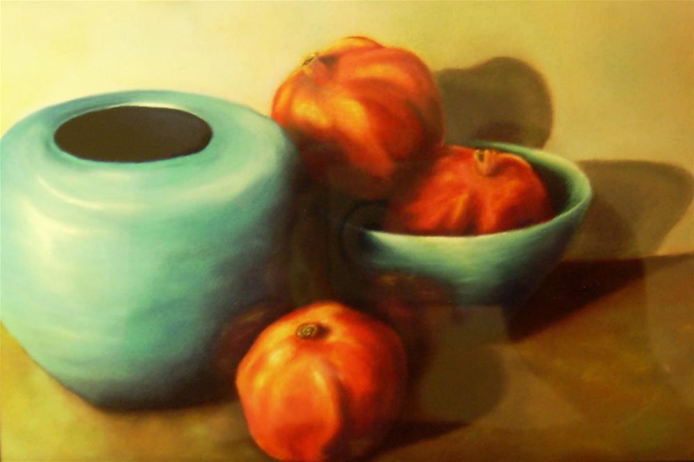 """Pomegranates and Blue Bowl"" original fine art by Karen Collins"