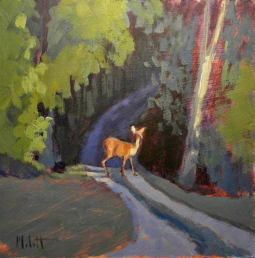 """Deer Crossing Nature Painting Contemporary Impressionism"" original fine art by Heidi Malott"