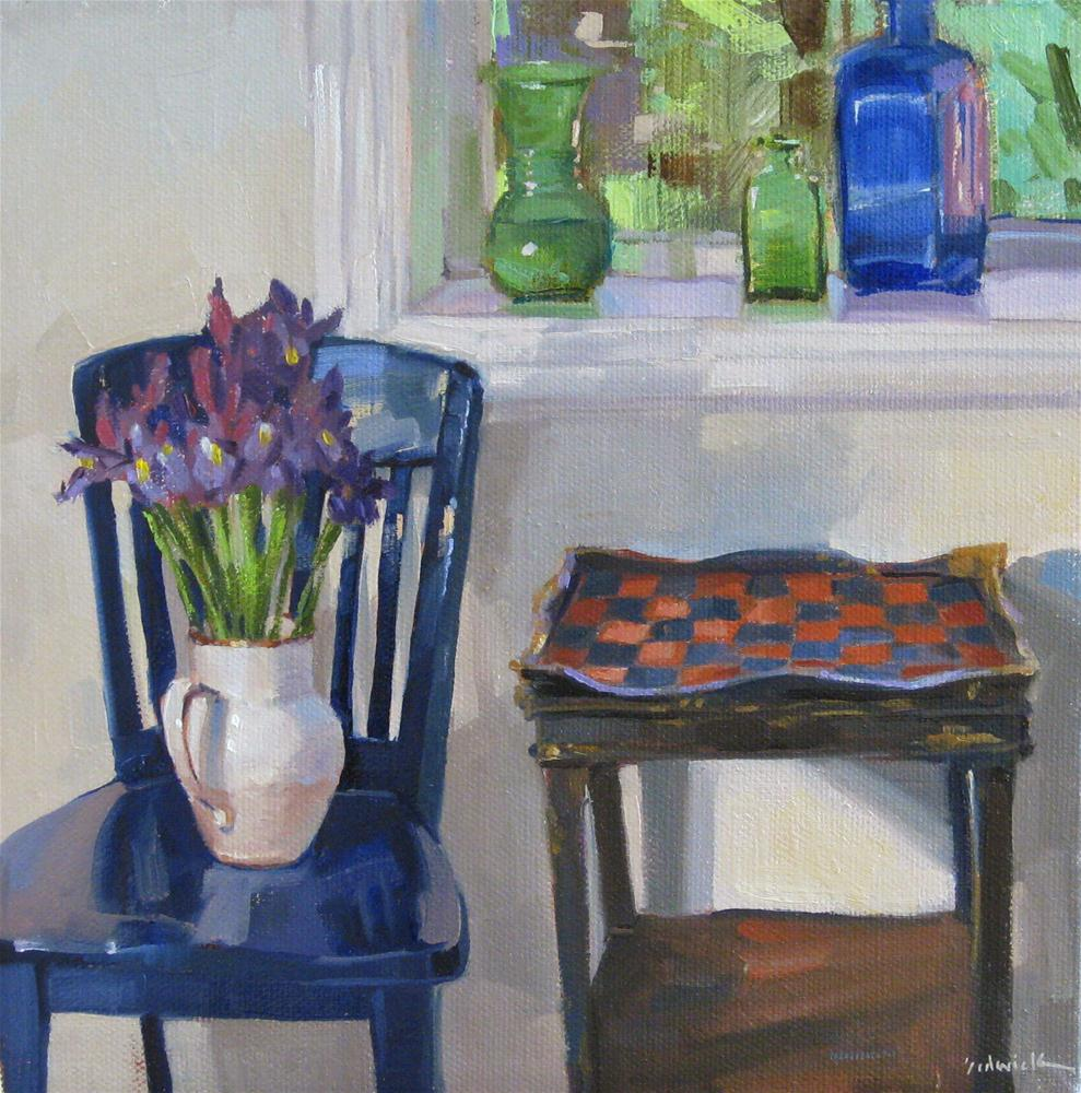 """The Checkerboard Table interior scene still life floral iris bouquet painting"" original fine art by Sarah Sedwick"