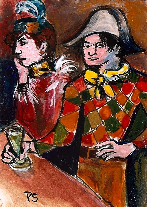 """""""ACEO In the Style of Pablo Picasso Au Lapin Agile Mini Painting by Penny StewArt"""" original fine art by Penny Lee StewArt"""