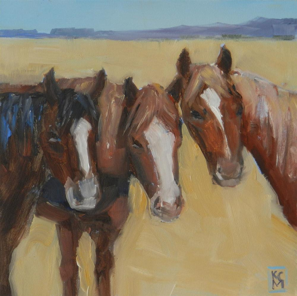 """Interrupted, 6x6 Inch Oil Painting of Horses by Kelley MacDonald"" original fine art by Kelley MacDonald"