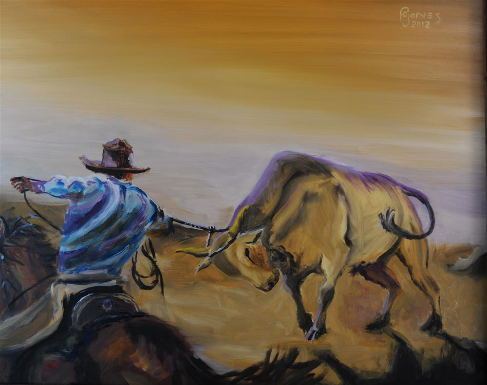 """By the Horns"" original fine art by Fred Jones"