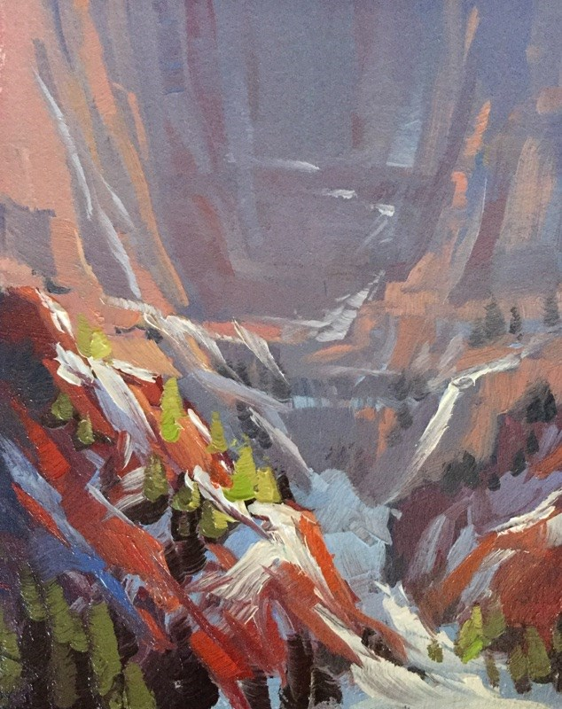 """Winter in Kolob Canyons 6"" original fine art by Mary Jabens"