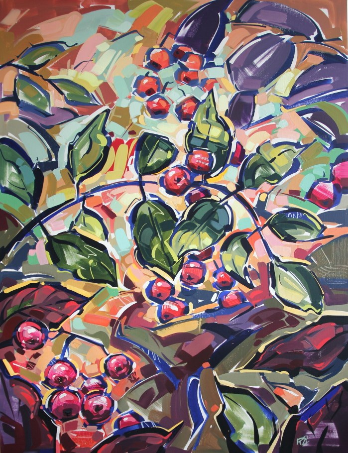 """Autumn Berry Abstraction 1"" original fine art by Roger Akesson"