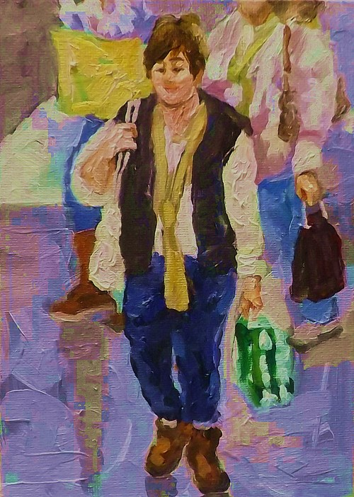 """SHOPPING,2"" original fine art by Run-      Zhang Zane"