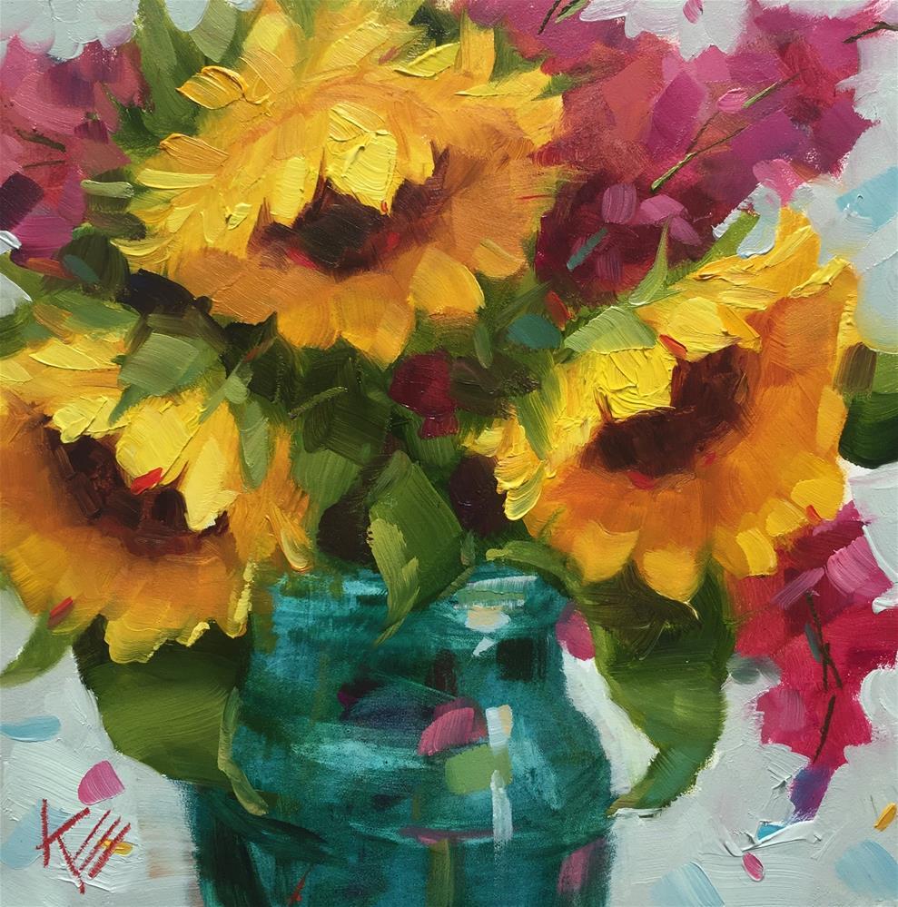 """Sunflowers in Vintage Blue"" original fine art by Krista Eaton"
