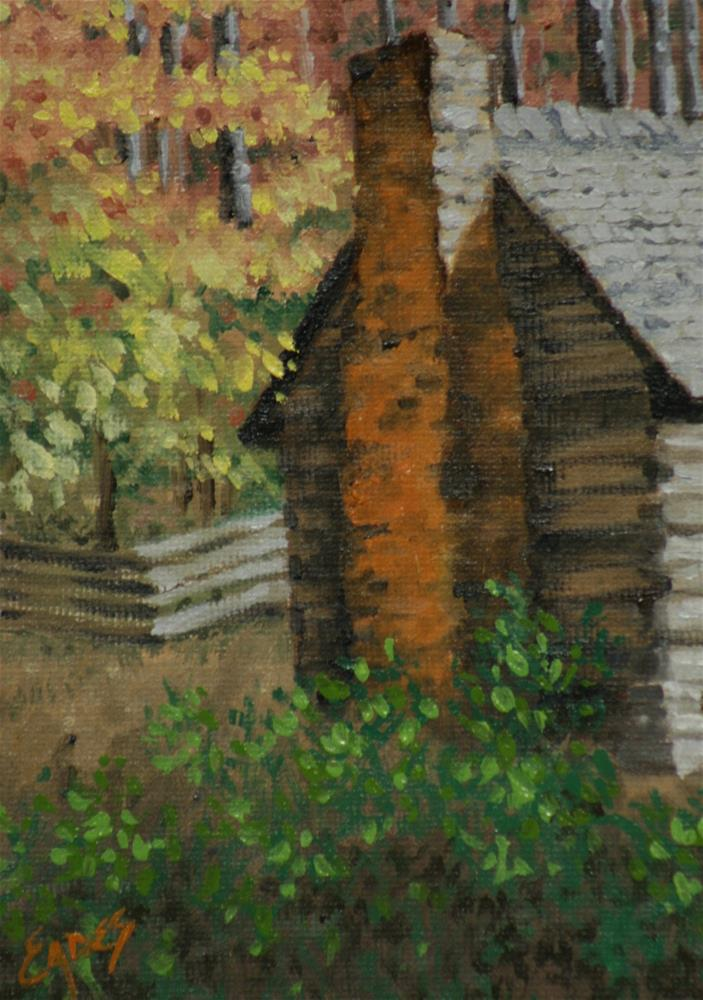 """Mountain Cabin"" original fine art by Linda Eades Blackburn"