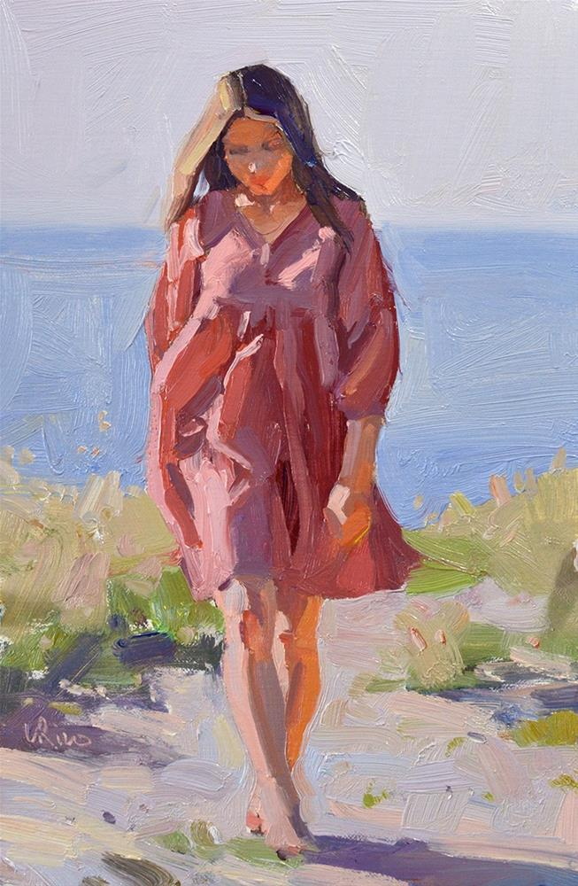 """Girl in a Red Dress"" original fine art by Lena  Rivo"
