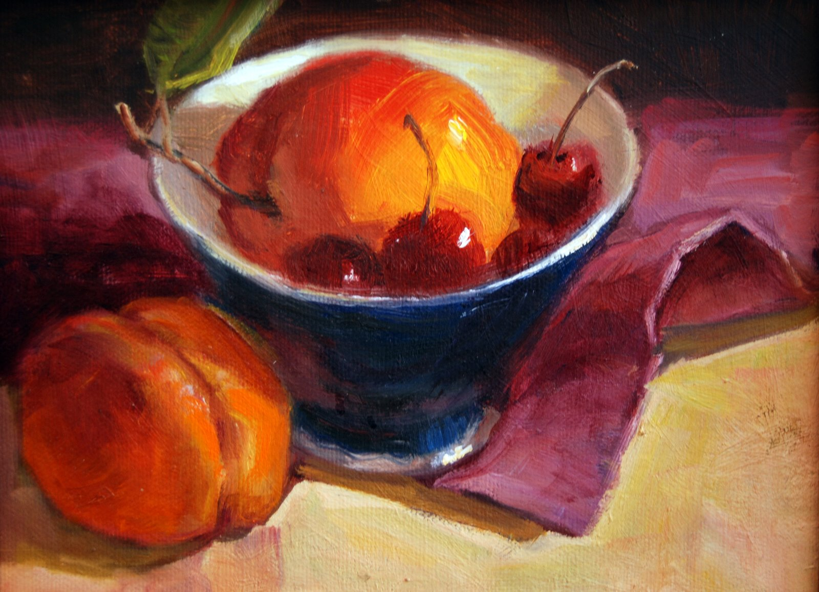 """Nectarines and Cherries"" original fine art by Julie Ford Oliver"