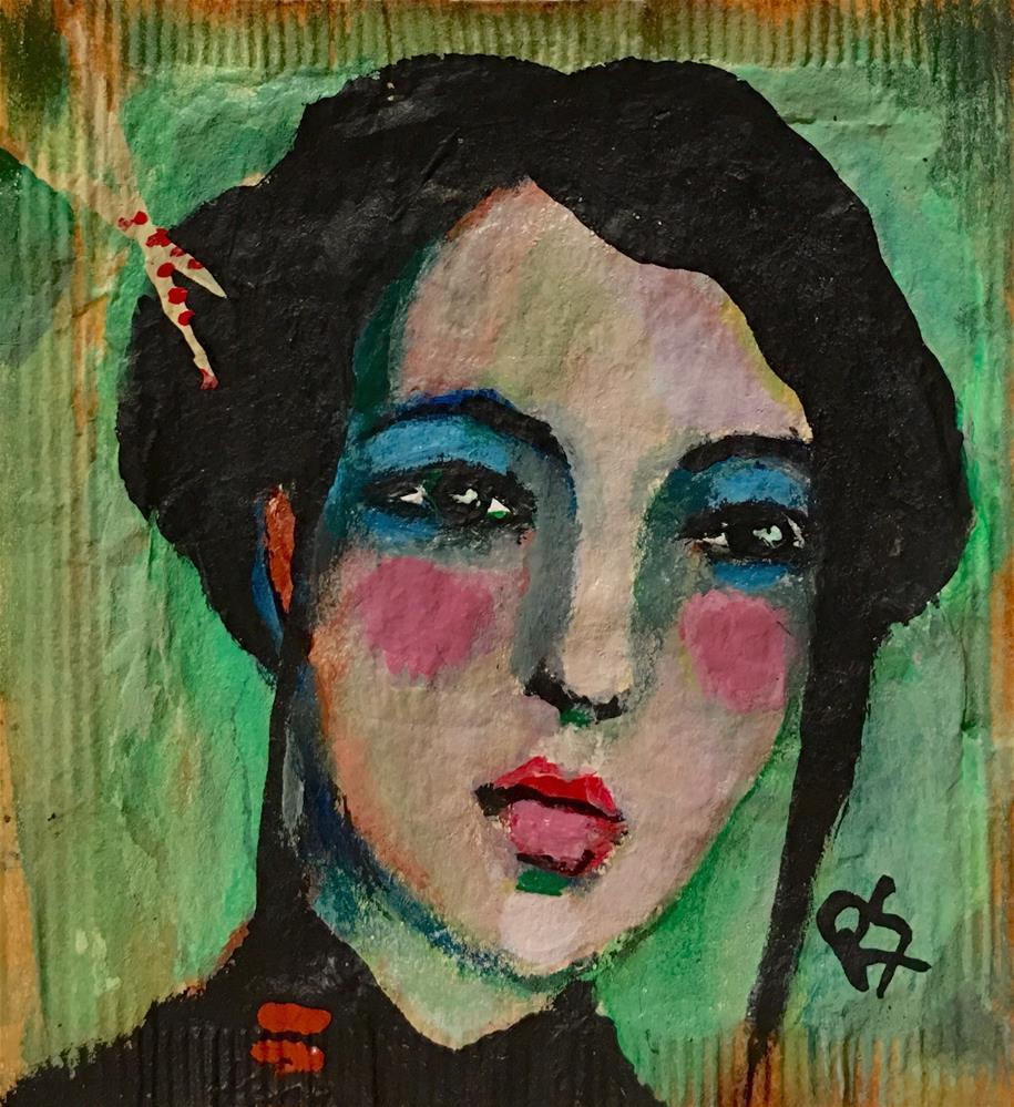 """""""Tea Bag Portrait - May"""" original fine art by Roberta Schmidt"""