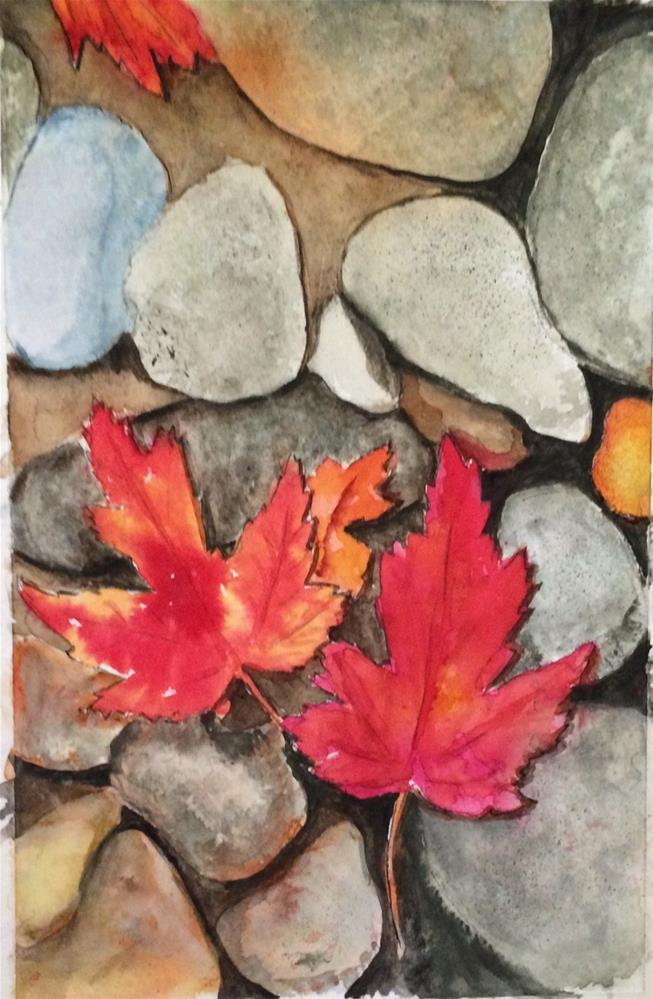 """Splash of Fall Color watercolor 9 x 6"" original fine art by Nancy Beard"
