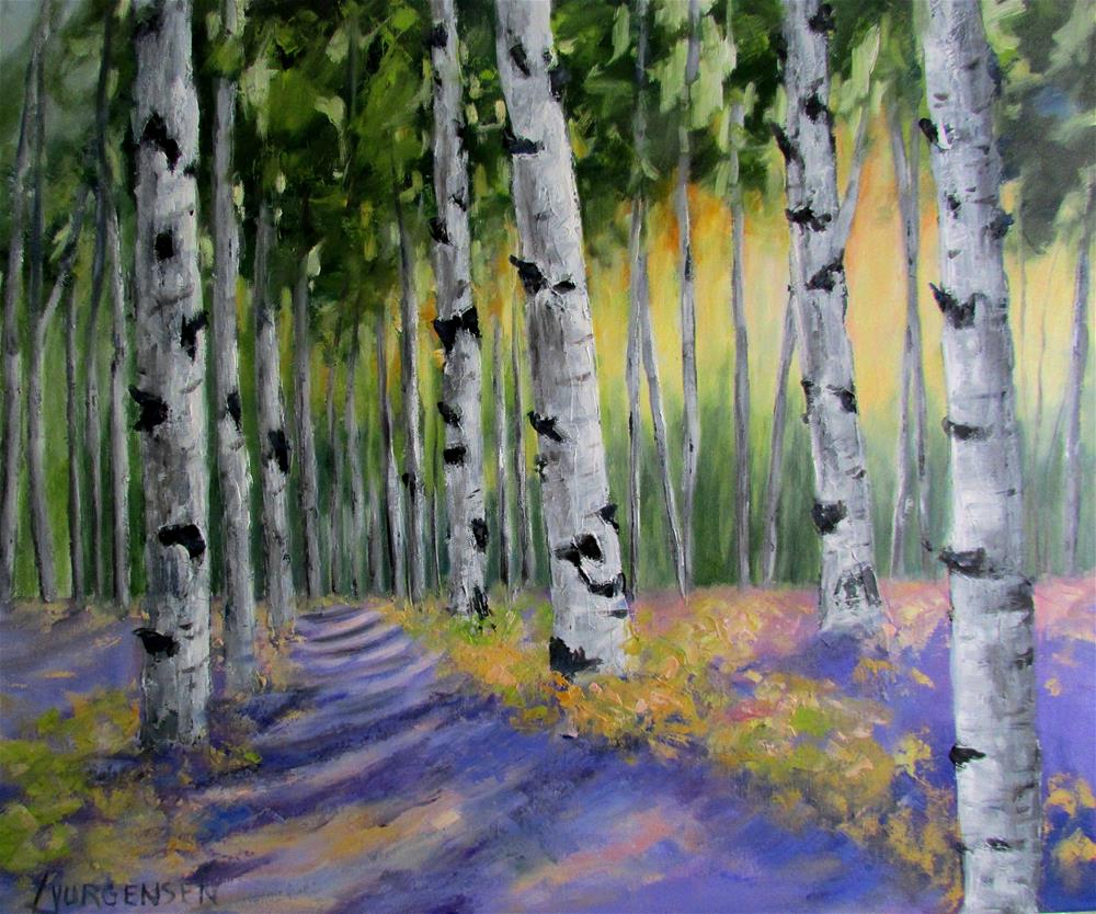 """20 x 24inch oil Path Among the Birches"" original fine art by Linda Yurgensen"