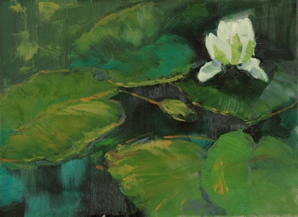 """Lily Pond, Landscape Art Painting Lily Pond VIII by Colorado Artist Susan Fowler"" original fine art by Susan Fowler"